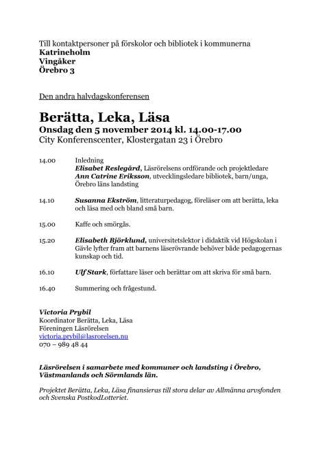 Berätta, Leka, Läsa 5 november 2014