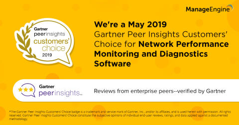 OpManager har utsetts till Gartner Peer Insights Customers' Choice 2019 för Network Performance Monitoring and Diagnostics Software