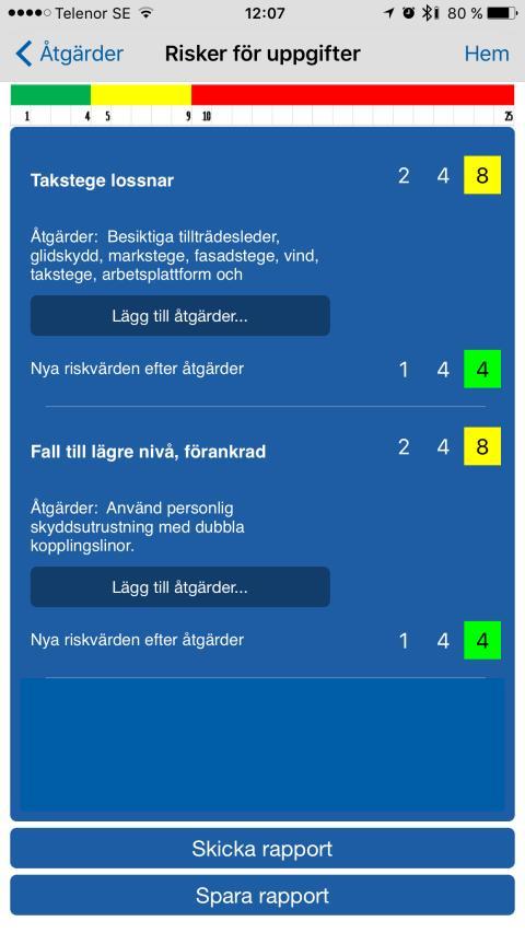 Skärmbild app taksäkerhet
