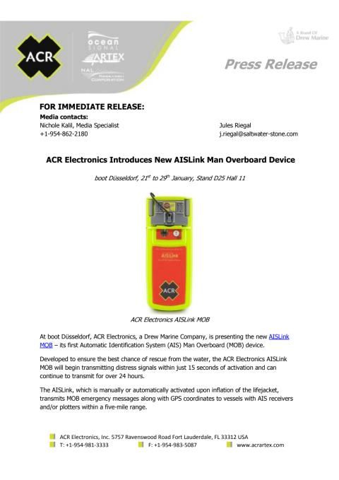 ACR Electronics Introduces New AISLink Man Overboard Device