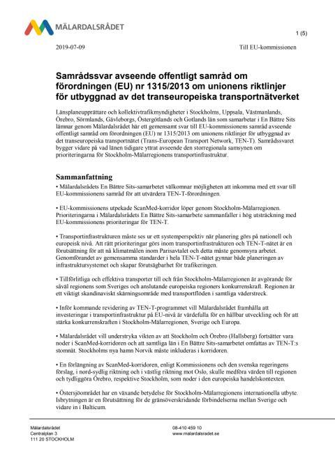 Samrådssvar avseende offentligt samråd om förordningen (EU) nr 1315/2013
