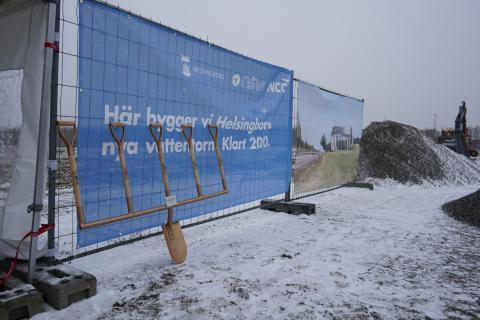 Spadtag för nya vattentornet