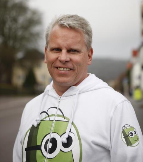 Andreas Swahn i Smartster-hoodie