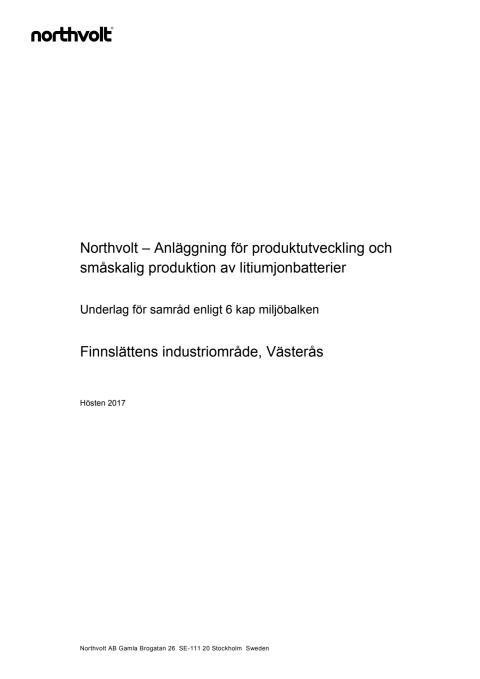 Samrådsunderlag avseende anläggning för produktutveckling och småskalig produktion av litiumjonbatterier