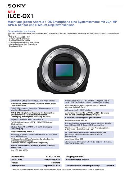 Datenblatt SmartShot ILCE-QX1 von Sony