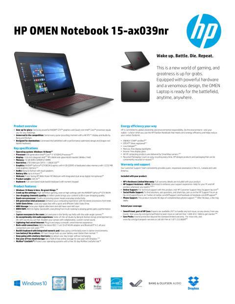 15.6 OMEN Laptop_Datasheet_BBY