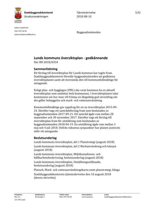 Tjänsteskrivelse för översiktsplan, augusti 2018