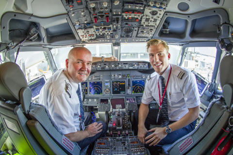 Norwegian 737 pilots in cockpit - SkyBreathe