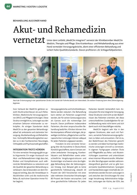 Akut- und Rehamedizin vernetzt. Beitrag in Health & Care Management 6/2015