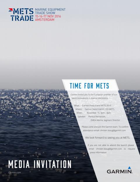 METS 2016 - se nyheter fra Garmin marine 2017