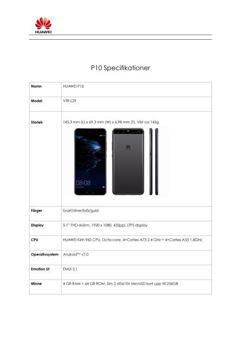 Specifikation P10 P10 Plus