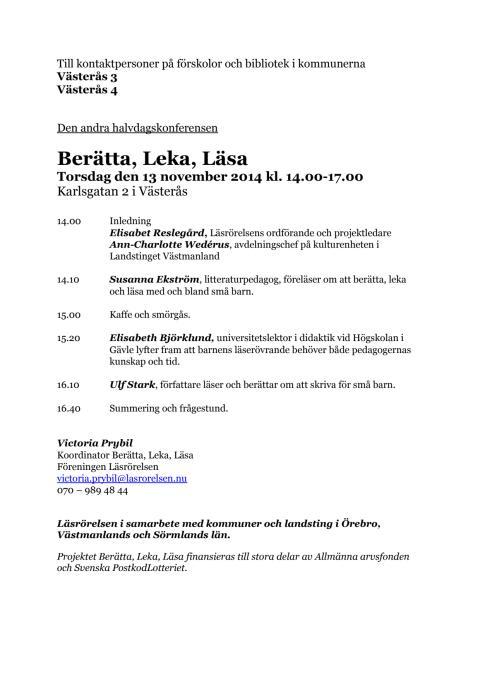 Berätta, Leka, Läsa 13 november Västerås 2014