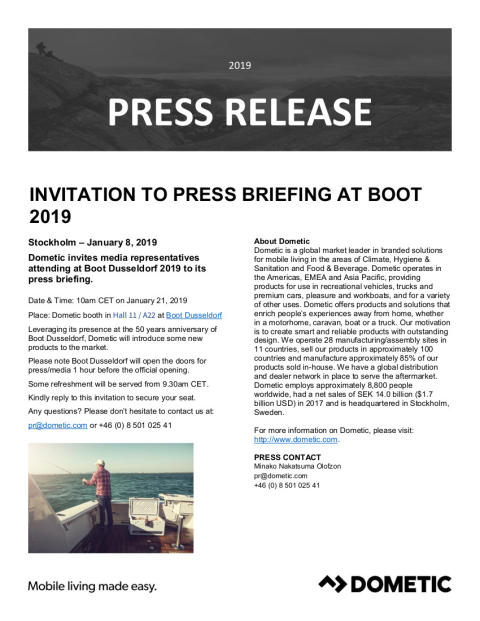 Dometic: Invitation to Dometic Press Briefing at boot Düsseldorf 2019 (Hall 11, Stand A22)