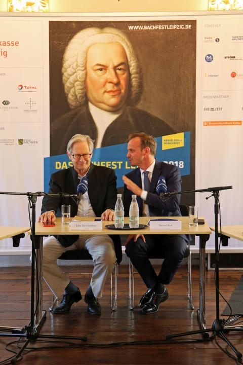 Bachfest Leipzig 2018 - Sir John Eliot Gardiner und Dr. Michael Maul bei der Diskussion