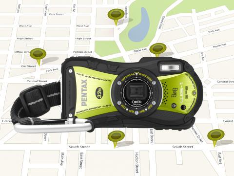 Pentax Optio WG-1 GPS grön på karta