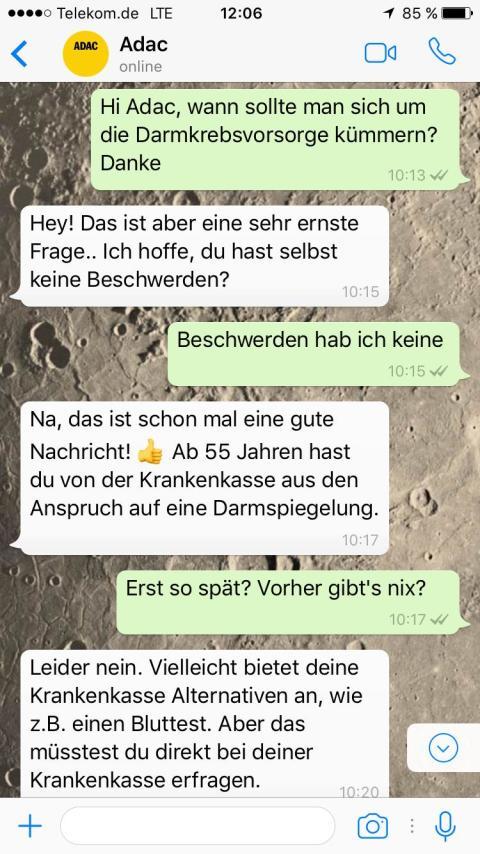 ADAC-Chat gecrasht. Felix Burda Stiftung testet neuen Whatsapp-Service #dontcallmom