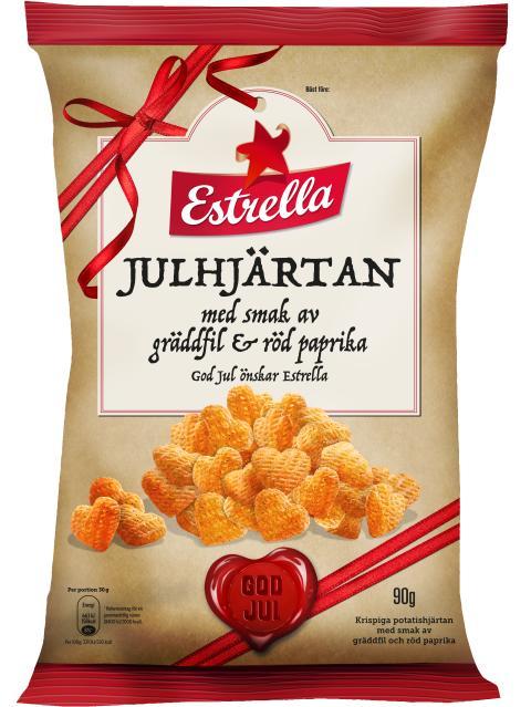 Julhjärtan Gräddfil & Röd Paprika från Estrella
