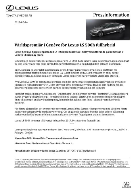 Världspremiär i Genève för Lexus LS 500h fullhybrid