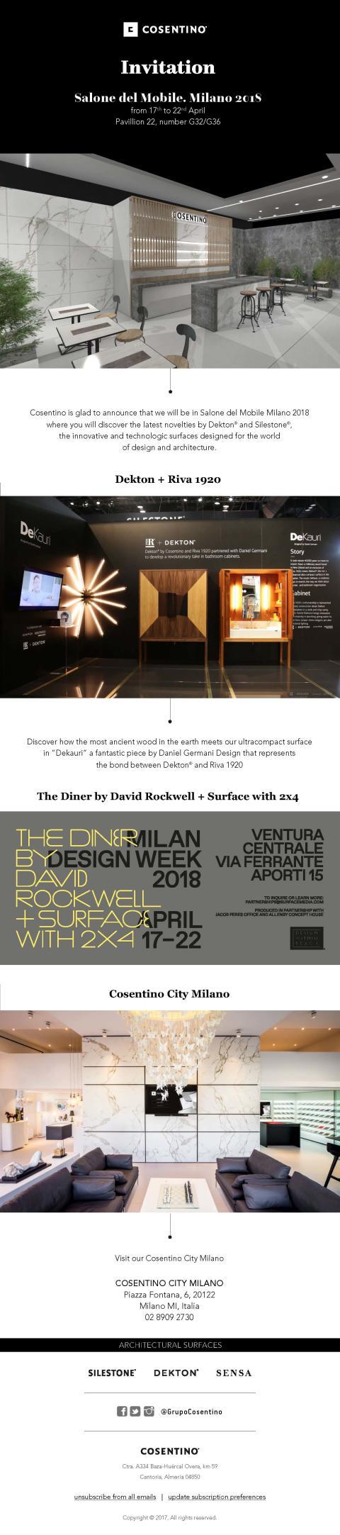 Inbjudan-Cosentinokoncernen på Milanos Designvecka 17e-22a april 2018