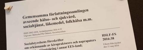 ERKÄNNANDE AV NAPRAPATERS PRAKTISKA TJÄNSTGÖRING I ANNAT EES-LAND