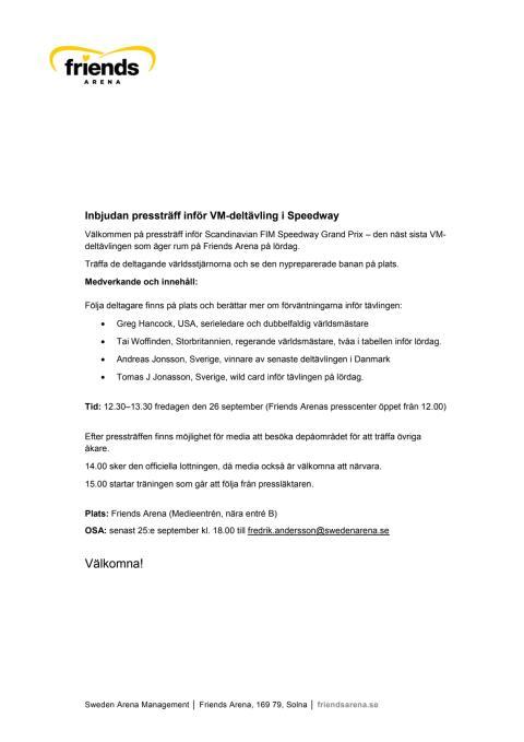 Inbjudan pressträff inför VM-deltävling i Speedway 2014