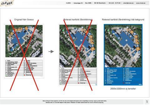 Kart/områdesskylt samt hänvisningslyktar till Stockholm Vatten AB i Bromma