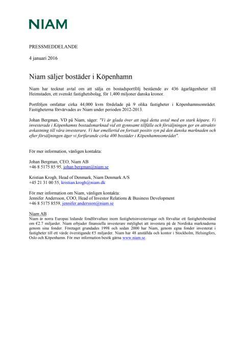 Niam säljer bostäder i Köpenhamn