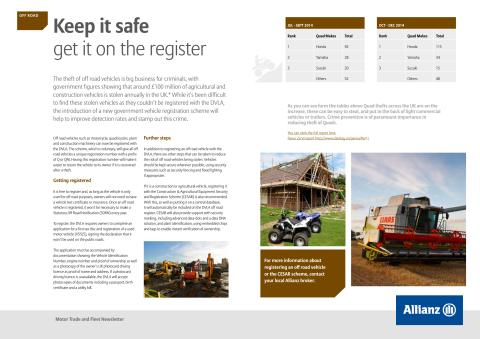 Motor newsletter March 2015 - protecting off-road vehicles