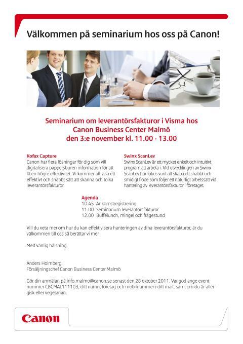 Seminarium om fakturaskanning med Canon, Swinx och Kofax
