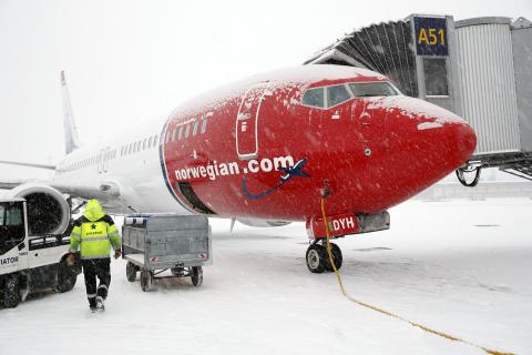 Vinter ved Oslo Lufthavn