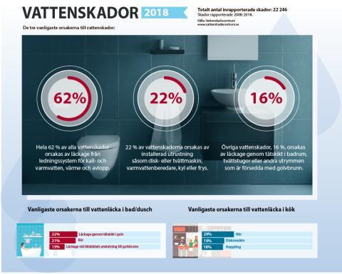Vattenskaderapporten sammanfattar 22 246 vattenskador: Ledningar och diskmaskiner är största bovarna