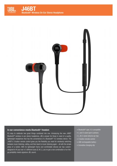 Specification Sheet - JBL J46BT