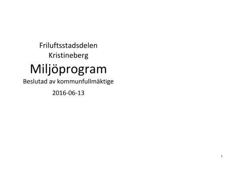 Miljöprogram Kristineberg