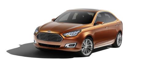Ford Escort Concept vises for første gang på den store bilutstillingen i Shanghai.