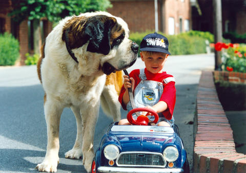 Junge mit Bernhardiner und Tretauto