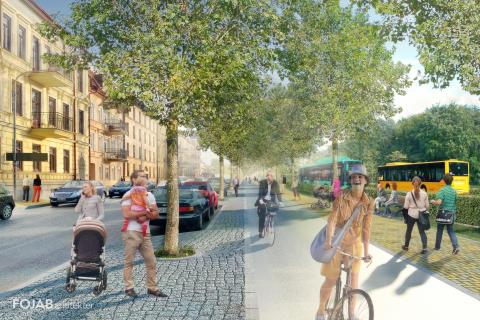 Västra Boulevarden i Kristianstad med Kristianstadslänken
