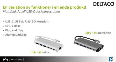 Multifunktionella USB-C dockningsstationer från DELTACO