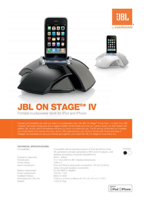 Specification sheet - JBL On Stage IV (English)