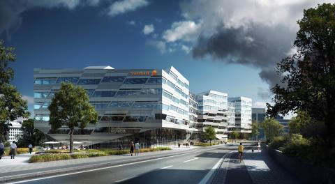 Illustration över Swedbanks huvudkontor från 3XN