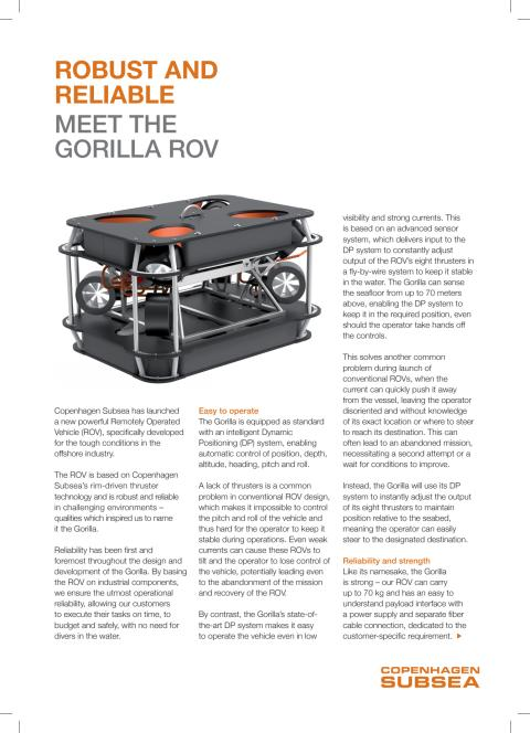 ARTICLE - ROBUST AND RELIABLE MEET THE GORILLA ROV
