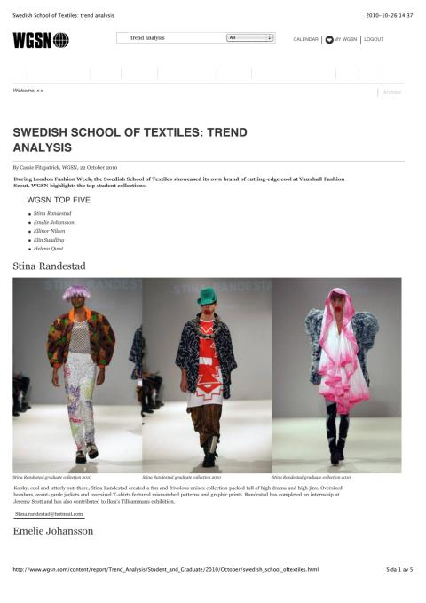 SWEDISH SCHOOL OF TEXTILES: TREND