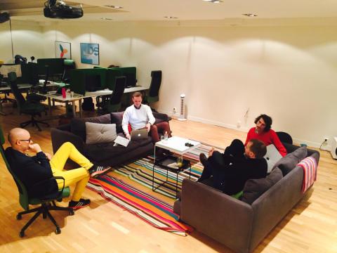 Kalle, Mattias, Adam och Pär på Stockholmskontoret