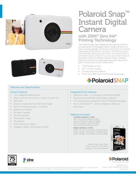 Polaroid SNAP, datablad
