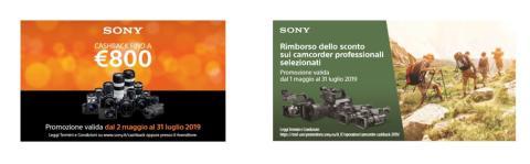 Cashback su fotocamere, ottiche e camcorder professionali di Sony