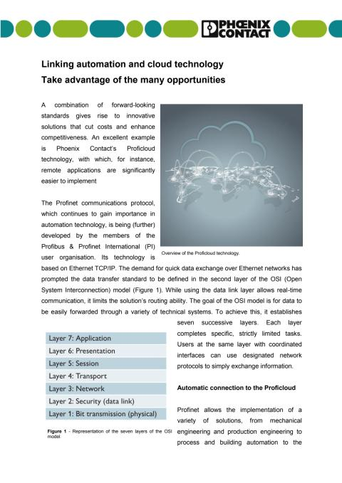 Linking automation and cloud technology