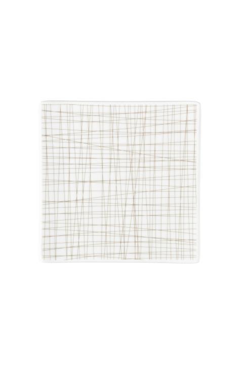 R_Mesh_Line Walnut_Plate 17 cm square flat