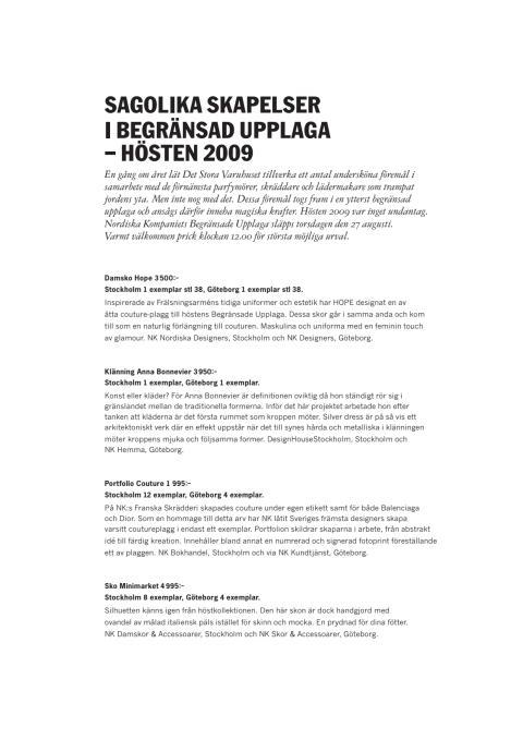 Fakta - Sagolika skapelser i Begränsad Upplaga 2009
