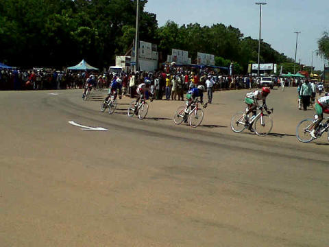 The cyclists battling it out in the final few laps of the race