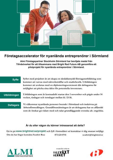 Företagsaccelerator för nyanlända entreprenörer i Sörmland