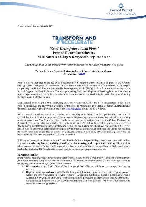 Press release: Pernod Ricard launches its 2030 Sustainability & Responsibility Roadmap